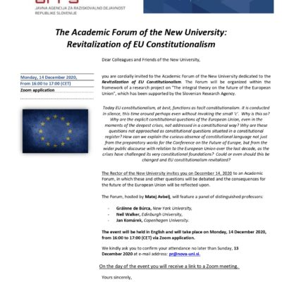 The Academic Forum of the New University: Revitalization of EU Constitutionalism