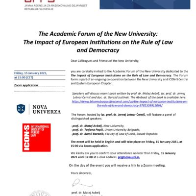The Academic Forum of the New University: The Impact of European Institutions on the Rule of Law and Democracy