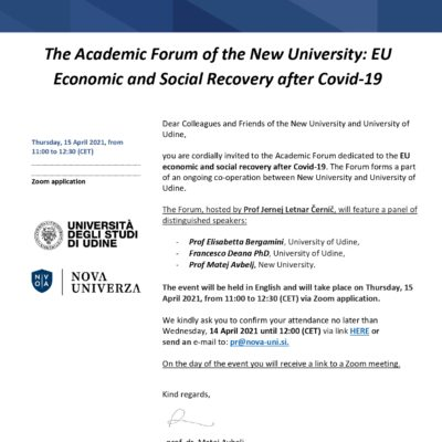 Academic Forum of the New University: Economic and Social Recovery after Covid-19