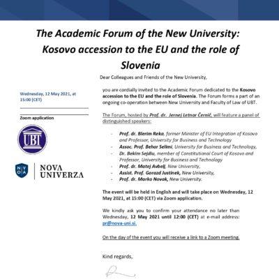 Academic Forum: Kosovo accession to the EU and the role of Slovenia